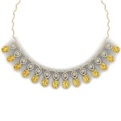 53.57 CTW Royalty Canary Citrine & VS Diamond Necklace 18K Yellow Gold - REF-927N3Y - 39077