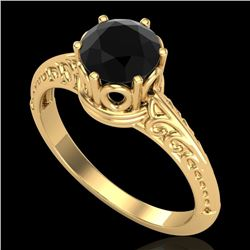 1 CTW Fancy Black Diamond Solitaire Engagement Art Deco Ring 18K Yellow Gold - REF-52K8R - 38117