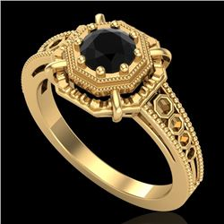 0.53 CTW Fancy Black Diamond Solitaire Engagement Art Deco Ring 18K Yellow Gold - REF-81W8H - 37438