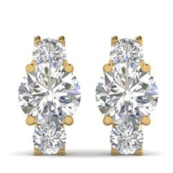 2.9 CTW Certified VS/SI Diamond 3 Stone Stud Earrings 14K Yellow Gold - REF-587H3W - 30308
