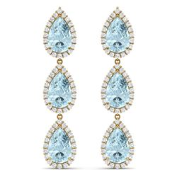 27.3 CTW Royalty Sky Topaz & VS Diamond Earrings 18K Yellow Gold - REF-290R9K - 38852