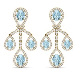 25.94 CTW Royalty Sky Topaz & VS Diamond Earrings 18K Yellow Gold - REF-418M2F - 38582