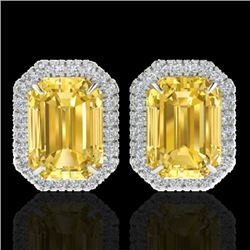 8.40 CTW Citrine & Micro Pave VS/SI Diamond Halo Earrings 18K White Gold - REF-73W3H - 21222