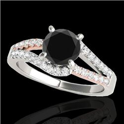 1.4 CTW Certified Vs Black Diamond Solitaire Ring Two Tone 10K White & Rose Gold - REF-70M2F - 35298