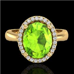 2.50 CTW Peridot & Micro Pave VS/SI Diamond Certified Ring Halo 18K Yellow Gold - REF-54Y8N - 21111
