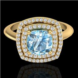 2.02 CTW Sky Blue Topaz & Micro VS/SI Diamond Certified Halo Ring 18K Yellow Gold - REF-63K6R - 2075