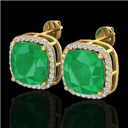 12 CTW Emerald & Micro Pave Halo VS/SI Diamond Earrings Solitaire 18K Yellow Gold - REF-158N2Y - 230
