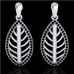 2 CTW Micro Pave Black & VS/SI Diamond Certified Designer Earrings 18K White Gold - REF-182Y4N - 214
