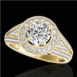 1.7 CTW H-SI/I Certified Diamond Solitaire Halo Ring 10K Yellow Gold - REF-233N6Y - 33969