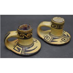TWO HOPI POTTERY CANDLE STICK HOLDERS