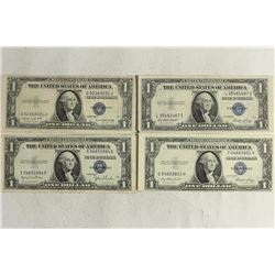 4 ASSORTED 1935 $1 SILVER CERTIFICATES