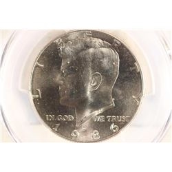 1986-D KENNEDY HALF DOLLAR PCGS MS66