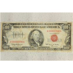 1966 $100 US RED SEAL NOTE SUPER LOW SERIAL #