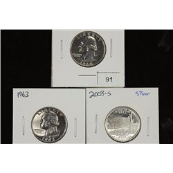 1960,63 & 2008-S SILVER PROOF QUARTERS