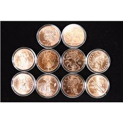 COMPLETE SET OF 10-1 OZ. COPPER ZOMBUCK ROUNDS