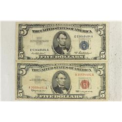 1953-A $5 SILVER CERTIFICATE & 1963 $5 US NOTE