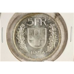 1954 SWISS SILVER 5 FRANCS UNC .4027 OZ. ASW