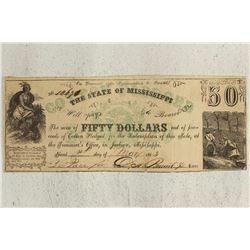 1862 STATE OF MISSISSIPPI $50 OBSOLETE BANK NOTE