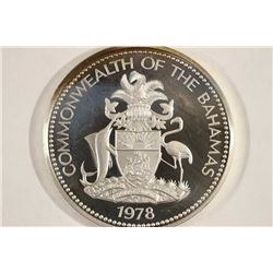 1978 BAHAMA SILVER PROOF $5 1.2526 OZ. ASW