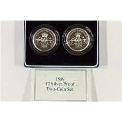 1989 UNITED KINGDOM 2 POUND SILVER PROOF 2 COIN