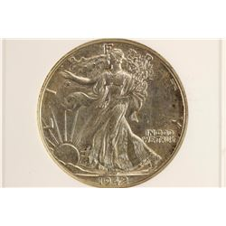 1942 WALKING LIBERTY HALF DOLLAR ANACS AU58