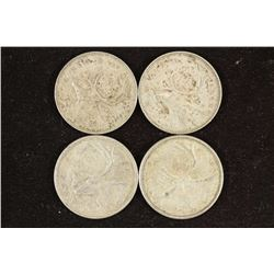 1950,51,58 & 1959 CANADA SILVER 25 CENTS