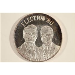 1 TROY OZ .999 FINE SILVER ROUND '80 ELECTION