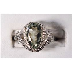GREEN AMETHYST STATEMENT RING with DIAMONDS