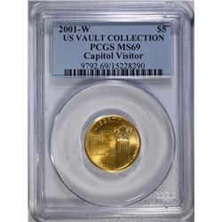 RARE 2001-W $5.00 GOLD COMMEM, PCGS MS-69