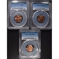 (3) 1995 LINCOLN CENTS PCGS MS-67RD