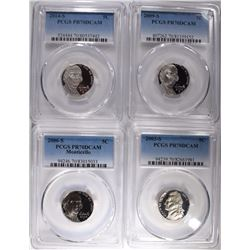 4 PCGS JEFFERSON NICKELS; ALL PR70DCAM