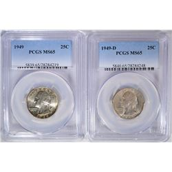 1949-P, D WASHINGTON QUARTERS, PCGS MS-65