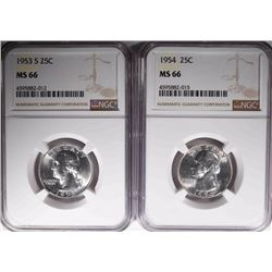 1953-S & 1954 WASHINGTON QTR NGC MS66