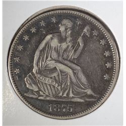 1875-CC SEATED LIBERTY HALF DOLLAR XF RARE DATE