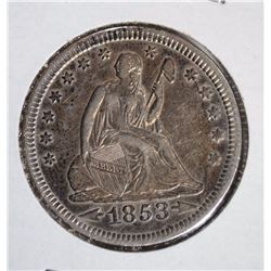 1853 A & R SEATED LIBERTY QUARTER NICE AU