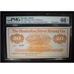 1870s $20 MANHATTAN SILVER MINING CO. PMG 66EPQ