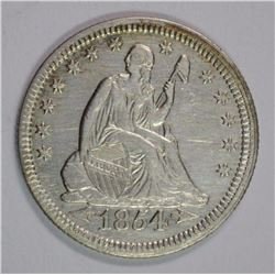 1854 SEATED  QUARTER, AU/BU cleaned