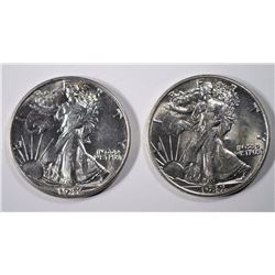 2 1942 WALKING LIBERTY HALF DOLLARS, CHOICE BU