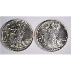 ( 2 ) 1943 WALKING LIBERTY HALF DOLLARS, CH BU