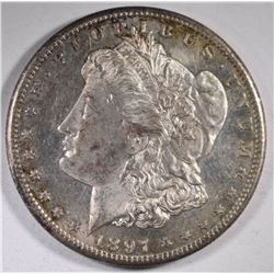1897-S MORGAN DOLLAR, CH BU ORIGINAL