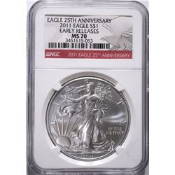 2011 SILVER EAGLE, NGC MS-70 EARLY RELEASES