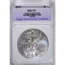2012 AMERICAN SILVER EAGLE ENG PERFECT GEM BU