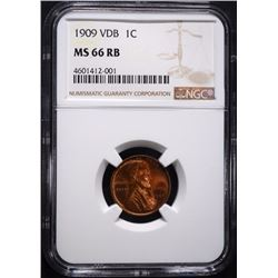 1909 VDB LINCOLN CENT, NGC MS-66 RB