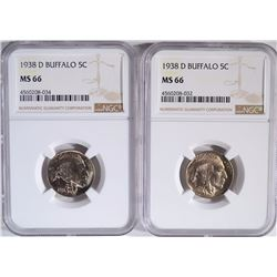 2-1938-D BUFFALO NICKELS, NGC-MS66