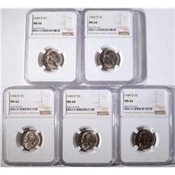 (5) 1940-D JEFFERSON NICKELS, NGC MS-66