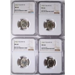 (4)1942-P SILVER JEFFERSON NICKELS, NGC-MS66