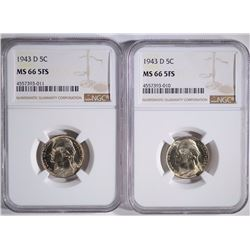 (2) 1943-D JEFFERSON NICKELS, NGC-MS66 5FS