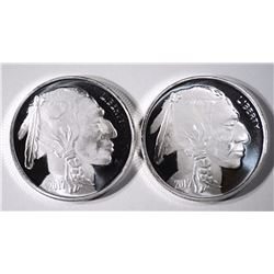 2-ONE OUNCE .999 SILVER BUFFALO ROUNDS