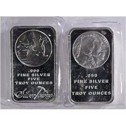 2-DIFFERENT FIVE OUNCE .999 SILVER BARS