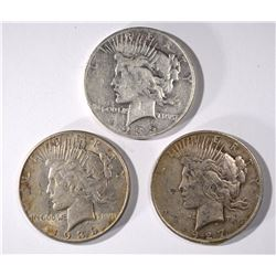3 - PEACE DOLLARS; 1935-S VG, 1935 XF